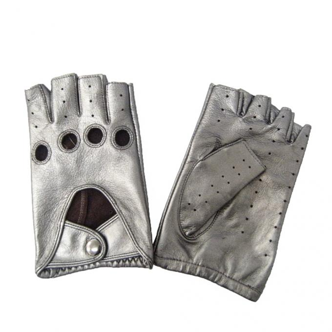 Custom Half Finger Leather Driving Gloves Comfortable Various Size