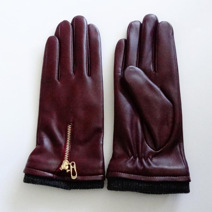 Ladies Soft Sheepskin Leather Wool Lining Leather Gloves Comfortable For Winter 0