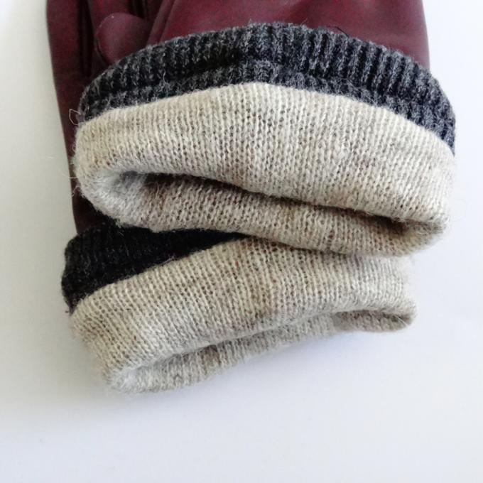 Ladies Soft Sheepskin Leather Wool Lining Leather Gloves Comfortable For Winter 2