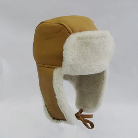 China Warm Trapper Sheepskin Shearling Hat Camel Customized Color For Winter supplier