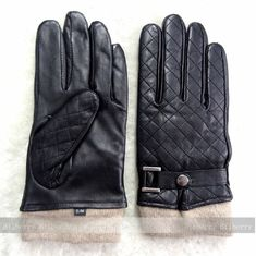 Dobby Style Mens Black Leather Gloves , Mens Leather Dress Gloves With Belt