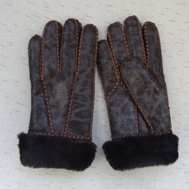 Attractive design printed Russian sheepskin shearling warm gloves winter