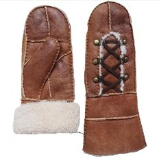 Wholesale Cheap Handsewn Patched Shearling Sheep Fur Lined Women Gloves Winter Warm Lambskin Scrap Leather Ladies Mitten