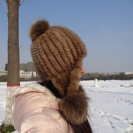 Knitted Pompom Shearling Fur Hats 100% Wool Material Customized Color