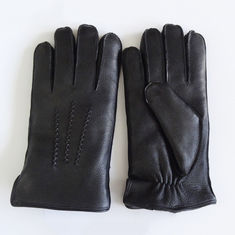Winter Thicken Sheep Wool Lined Gloves Ladies Lined Leather Gloves Black Color