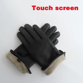 Durable Wool Warm Lined Leather Gloves Touch Screen Women Ladies Imitation Deerskin Leather Gloves