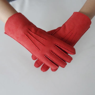Dyed Double Face Women Sheepskin Shearling Gloves