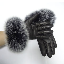 Sheepskin Womens Soft Leather Gloves Wool Lined Fox Fur Leather Gloves