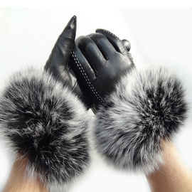 Touch Screen Sheep Womens Soft Leather Gloves With Fluffy Fox Fur Trim Cuff