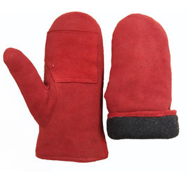 Sheepskin Leather Mitten Gloves , Winter Waterproof Leather Ski Gloves