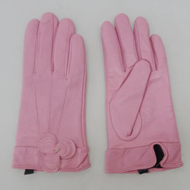 Fashion pink genuine sheepskin leather gloves for ladies