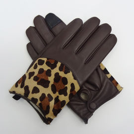 Full Finger Motorcycle Leather Touchscreen Gloves , Leather Hand Gloves Plain Style