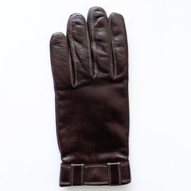 Customized Elastic Cuff Mens Wool Lined Leather Gloves Sheepskin Men Leather Gloves