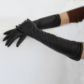 Ladies Long Black Leather Gloves , Wool Lined Womens Designer Leather Gloves