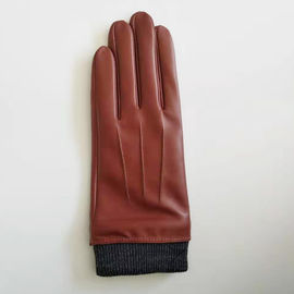 Fashion Knitted Cuffs Womens Soft Leather Gloves Eco - Friendly Red Color