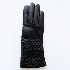 Classical Ladies Warm Lined Leather Gloves , Womens Leather Black Gloves Plain Style