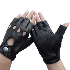 Sheepskin Mens Fingerless Driving Gloves , Fingerless Leather Gloves Customized Size