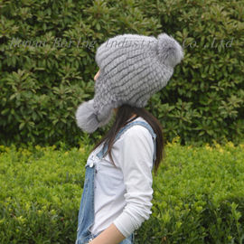 Adult Size Pompom Shearling Fur Hats 100% Wool Material Checked Style