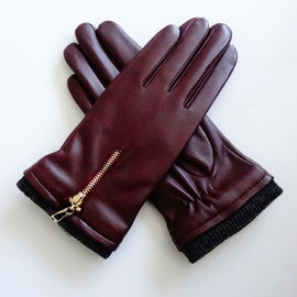 Ladies Soft Sheepskin Leather Wool Lining Leather Gloves Comfortable For Winter