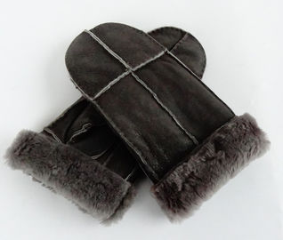 Winter Split Lamb Sheepskin Leather Shearling Gloves Comfortable Grey Color