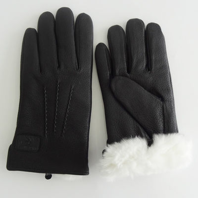 Black Rabbit Fur Lined Deerskin Mens Soft Leather Gloves