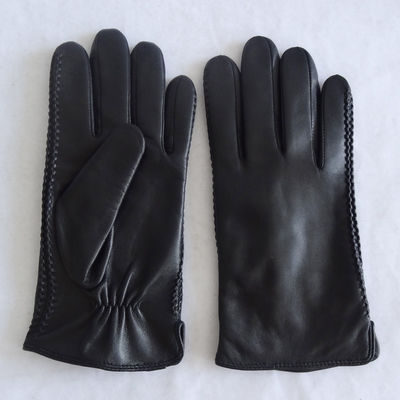 Elastic Wool Lined Deerskin Mens Soft Leather Gloves
