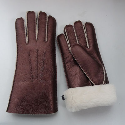 Hand Sewing Women Double Face Shearling Sheepskin Gloves